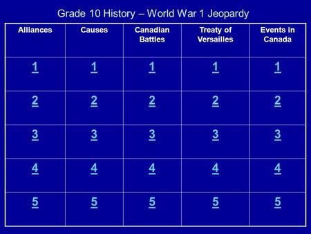 Grade 10 History – World War 1 Jeopardy AlliancesCausesCanadian Battles Treaty of Versailles Events in Canada 11111 22222 33333 44444 55555.