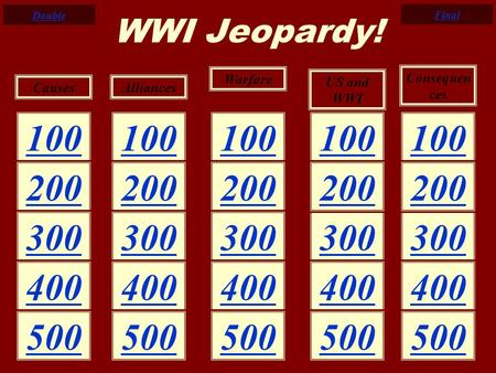100 200 300 400 500 200 300 400 200 300 200 500 400 500 CausesAlliances Warfare US and WWI Consequen ces WWI Jeopardy! Double Final.