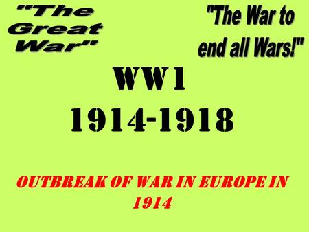 WW1 1914-1918 OUTBREAK OF WAR IN EUROPE IN 1914. Great Powers (1914) France Germany Austria- Hungary Russia Great Britain (Italy)