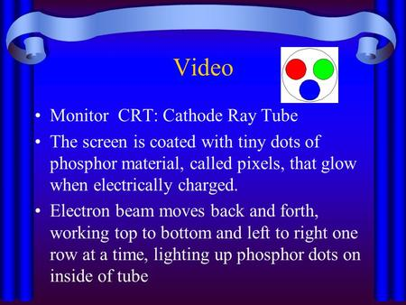Video Monitor CRT: Cathode Ray Tube The screen is coated with tiny dots of phosphor material, called pixels, that glow when electrically charged. Electron.
