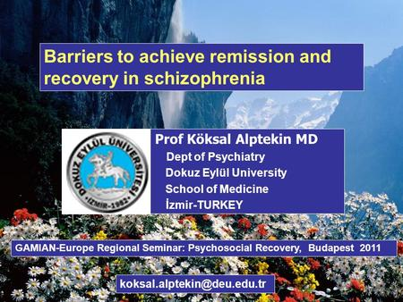 Barriers to achieve remission and recovery in schizophrenia Prof Köksal Alptekin MD Dept of Psychiatry Dokuz Eylül University School of Medicine İzmir-TURKEY.