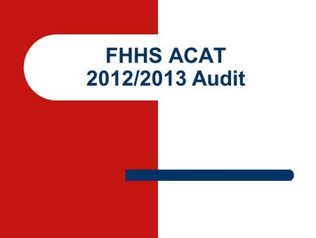 FHHS ACAT 2012/2013 Audit. A survey of prescribing in the frail elderly with reference to the STOPP criteria.