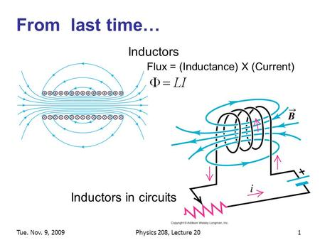 Tue. Nov. 9, 2009Physics 208, Lecture 201 From last time… Inductors in circuits Inductors Flux = (Inductance) X (Current)