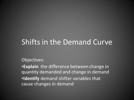 Shifts in the Demand Curve Objectives: Explain the difference between change in quantity demanded and change in demand Identify demand shifter variables.