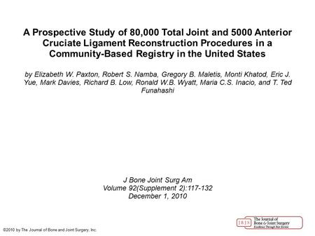A Prospective Study of 80,000 Total Joint and 5000 Anterior Cruciate Ligament Reconstruction Procedures in a Community-Based Registry in the United States.