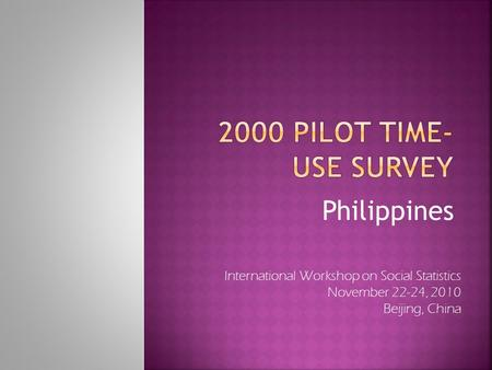 Philippines International Workshop on Social Statistics November 22-24, 2010 Beijing, China.