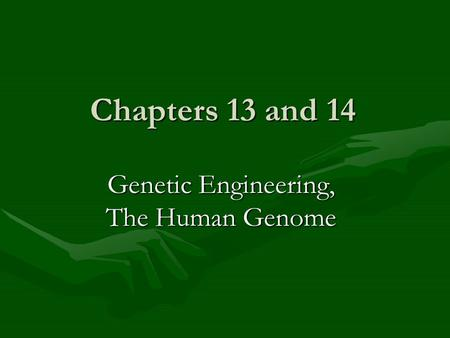 Chapters 13 and 14 Genetic Engineering, The Human Genome.