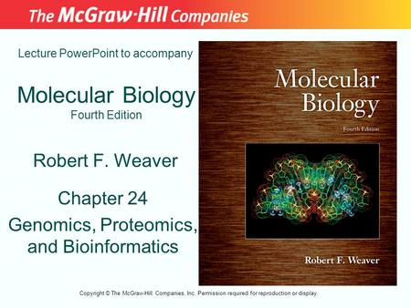 Molecular Biology Fourth Edition Chapter 24 Genomics, Proteomics, and Bioinformatics Lecture PowerPoint to accompany Robert F. Weaver Copyright © The McGraw-Hill.