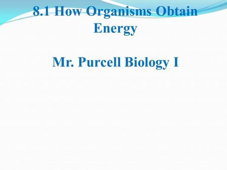 8.1 How Organisms Obtain Energy Mr. Purcell Biology I.