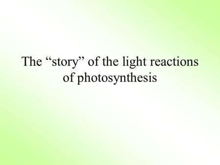 "The ""story"" of the light reactions of photosynthesis."