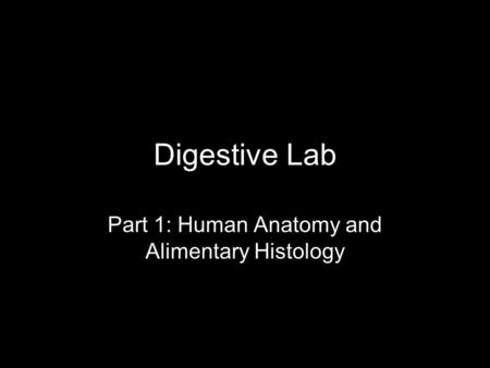 Digestive Lab Part 1: Human Anatomy and Alimentary Histology.