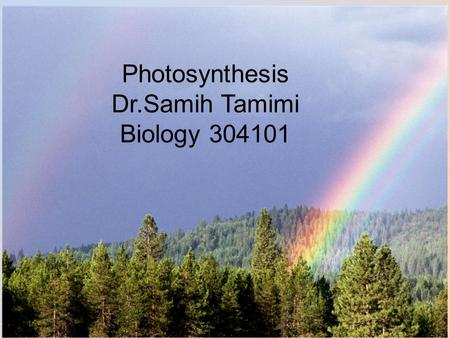 Photosynthesis Dr.Samih Tamimi Biology 304101 Structures  Photosynthesis occurs only in plants and a small number of single-celled organisms (like algae).