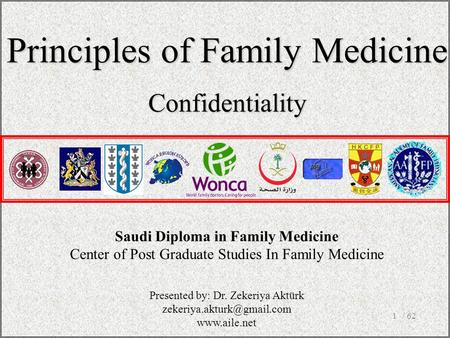 / 621 Saudi Diploma in Family Medicine Center of Post Graduate Studies In Family Medicine Principles of Family Medicine Confidentiality Presented by: Dr.