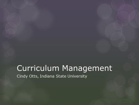 Curriculum Management