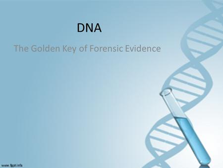 DNA The Golden Key of Forensic Evidence. DNA Deoxyribonucleic Acid Can be taken from cellular tissue or bodily fluids – Examples: hair, bones, blood,