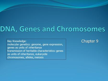 Chapter 9 Key Knowledge: molecular genetics: genome, gene expression, genes as units of inheritance transmission of heritable characteristics: genes as.