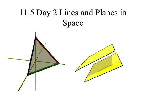 11.5 Day 2 Lines and Planes in Space. Equations of planes.
