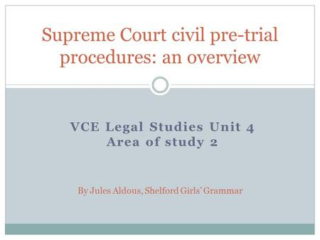 Supreme Court civil pre-trial procedures: an overview