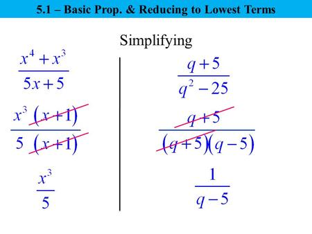Simplifying 5.1 – Basic Prop. & Reducing to Lowest Terms.