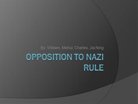 By: William, Mehul, Charles, Jia Ning. Mind Map Nazi Opposition Attempted Coup d'état Passive Resistance Private Grumbling Underground Resistance Abwehr.