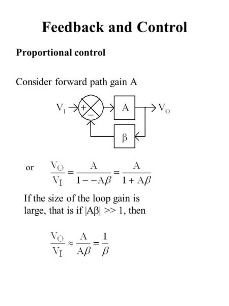 Proportional control Consider forward path gain A Feedback and Control If the size of the loop gain is large, that is if |A  >> 1, then or.