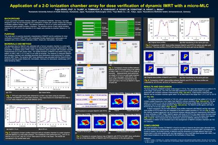 Application of a 2-D ionization chamber array for dose verification of dynamic IMRT with a micro-MLC Fujio ARAKI, PhD 1, S. TAJIRI 2, H. TOMINAGA 2, K.