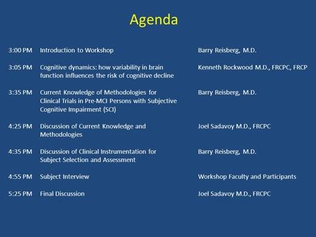 Agenda 3:00 PMIntroduction to Workshop Barry Reisberg, M.D. 3:05 PM Cognitive dynamics: how variability in brain Kenneth Rockwood M.D., FRCPC, FRCP function.