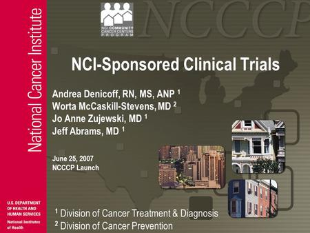 NCI-Sponsored Clinical Trials Andrea Denicoff, RN, MS, ANP 1 Worta McCaskill-Stevens, MD 2 Jo Anne Zujewski, MD 1 Jeff Abrams, MD 1 June 25, 2007 NCCCP.