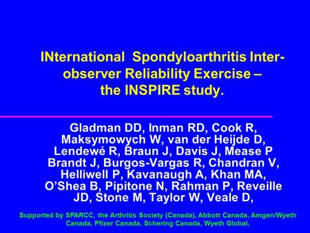 INternational Spondyloarthritis Inter- observer Reliability Exercise – the INSPIRE study. Gladman DD, Inman RD, Cook R, Maksymowych W, van der Heijde D,