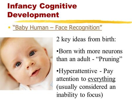 "Infancy Cognitive Development  ""Baby Human – Face Recognition"" ""Baby Human – Face Recognition"" 2 key ideas from birth: Born with more neurons than an."