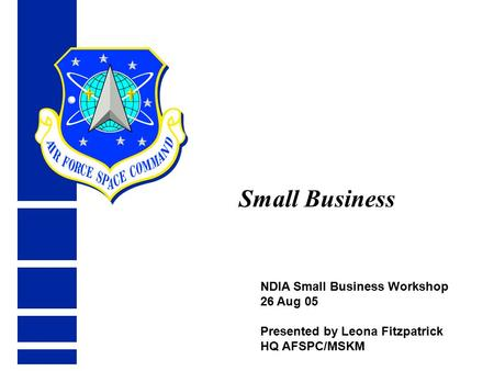 NDIA Small Business Workshop 26 Aug 05 Presented by Leona Fitzpatrick HQ AFSPC/MSKM Small Business.
