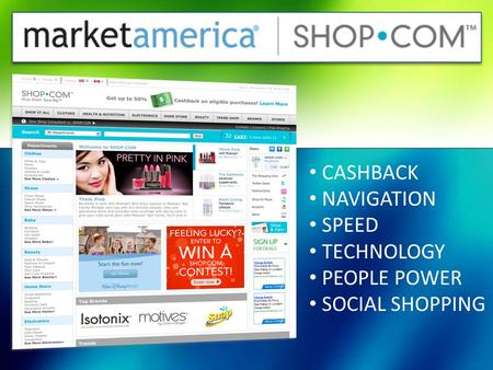 CASHBACK NAVIGATION SPEED TECHNOLOGY PEOPLE POWER SOCIAL SHOPPING.