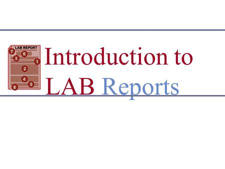 Introduction to lab report