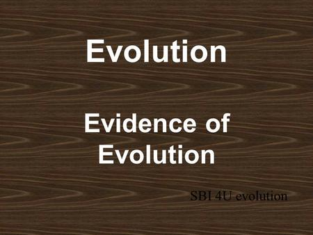 Evolution Evidence of Evolution SBI 4U evolution.