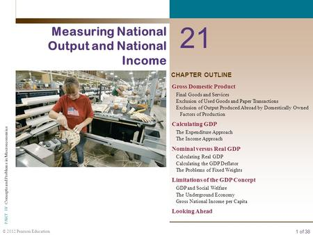 1 of 38 © 2012 Pearson Education PART IV Concepts and Problems in Macroeconomics CHAPTER OUTLINE 21 Measuring National Output and National Income Gross.