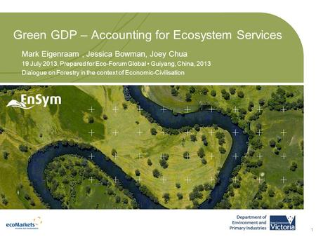 Green GDP – Accounting for Ecosystem Services Mark Eigenraam, Jessica Bowman, Joey Chua 19 July 2013, Prepared for Eco-Forum Global Guiyang, China, 2013.