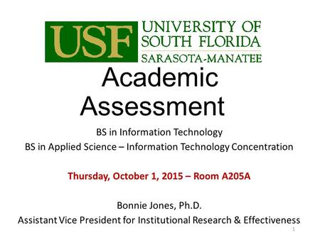 Academic Assessment BS in Information Technology BS in Applied Science – Information Technology Concentration Thursday, October 1, 2015 – Room A205A Bonnie.