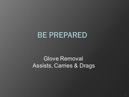 Glove Removal Assists, Carries & Drags 1. Glove Removal Partially remove the first glove.  Pinch the glove at the wrist.  Pull the glove towards the.