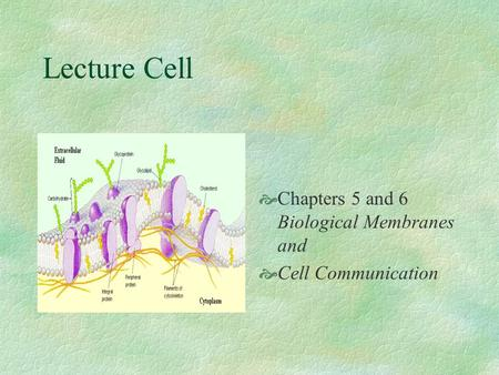 Lecture Cell Chapters 5 and 6 Biological Membranes and