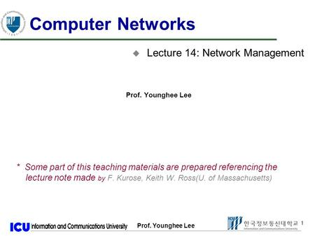 Prof. Younghee Lee 1 1 Computer Networks u Lecture 14: Network Management Prof. Younghee Lee * Some part of this teaching materials are prepared referencing.