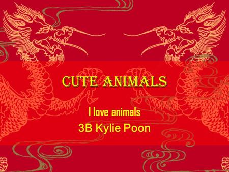 Cute Animals I love animals 3B Kylie Poon. Dogs  I hate dogs because they like to lick people.