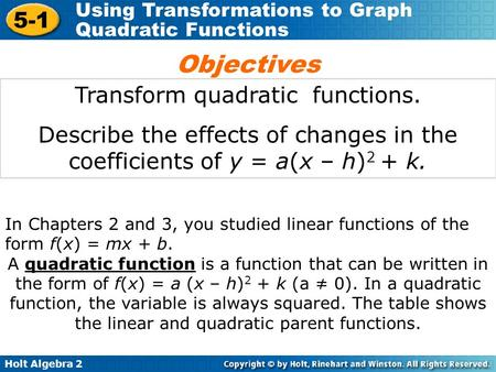 Holt Algebra 2 5-1 Using Transformations to Graph Quadratic Functions Transform quadratic functions. Describe the effects of changes in the coefficients.