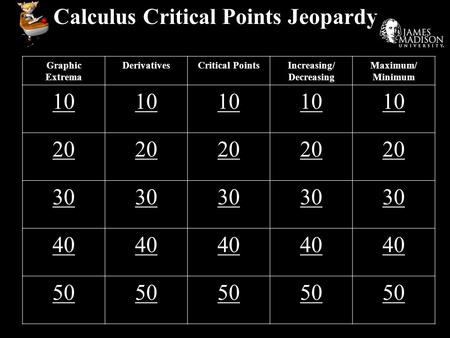 Calculus Critical Points Jeopardy Graphic Extrema DerivativesCritical PointsIncreasing/ Decreasing Maximum/ Minimum 10 20 30 40 50.