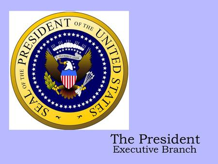 The President Executive Branch. Job Description Chief of State – ceremonial head of the nation Chief Executive – carry out the laws Chief Administrator.