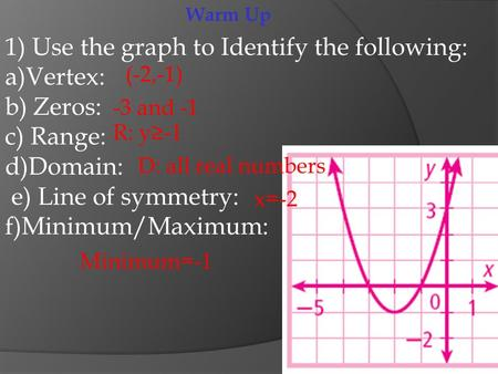 Warm Up 1) Use the graph to Identify the following: a)Vertex: b) Zeros: c) Range: d)Domain: e) Line of symmetry: f)Minimum/Maximum: (-2,-1) -3 and -1 R: