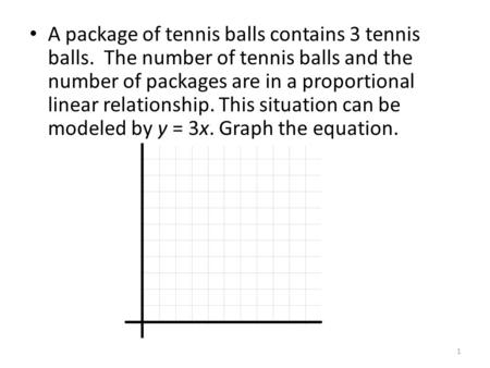 A package of tennis balls contains 3 tennis balls. The number of tennis balls and the number of packages are in a proportional linear relationship. This.