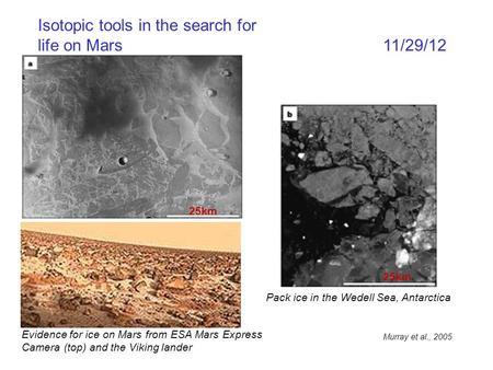Isotopic tools in the search for life on Mars 11/29/12 Evidence for ice on Mars from ESA Mars Express Camera (top) and the Viking lander Pack ice in the.
