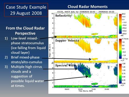 Case Study Example 29 August 2008 From the Cloud Radar Perspective 1)Low-level mixed- phase stratocumulus (ice falling from liquid cloud layer) 2)Brief.