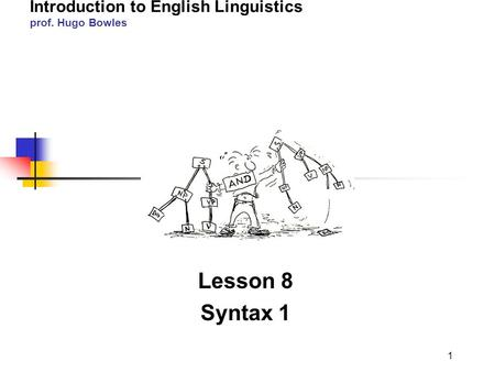 2011-12 LINGUA INGLESE 1 modulo A/B Introduction to English Linguistics prof. Hugo Bowles Lesson 8 Syntax 1 1.
