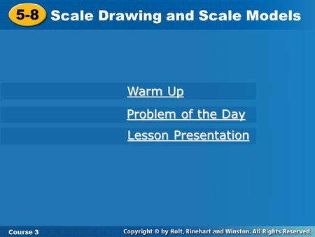 Scale Drawing and Scale Models